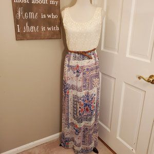 As U Wish Boho/Indie Belted Maxi Dress